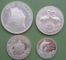 Bahamas, 1974, Set Of Coins Include Four Big Silver Coins,  Total Weight More Than 100 G - Bahamas