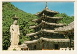COREA DEL SUD  PEPEHU-SA:  GRANDE BUDDHA E PAGODA A CINQUE PIANI       (NUOVA CON DESCRIZIONE DEL SITO SUL RETRO) - Corea Del Sud