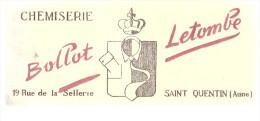 BUVARD SAINT QUENTIN ( Aisne)  CHEMISERIE  BOLLOT LETOMBE - Buvards, Protège-cahiers Illustrés