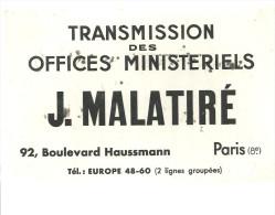 BUVARD  PARIS  TRANSMISSION Des OFFICES MINISTERIELS   J. MALATIRE  ........ - Autres