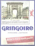 BUVARD PORTE St DENIS   GRINGOIRE Pithiviers En Gatinais  BISCOTTES Haute Qualité.... - Alimentaire