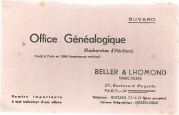 BUVARD PARIS  BELLER & LHOMOND   OFFICE GENEALOGIQUE  ( Recherche D'Heritiers) ....  .... - Buvards, Protège-cahiers Illustrés