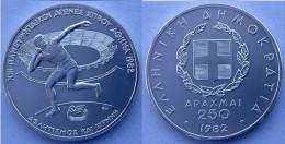 GREECE 250 A 1982 ARGENTO SILVER PANEUROPEAN GAMES PESO PESO 14,44g TITOLO 0,900 CONSERVAZIONE FDC UNC - Grecia