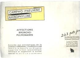 """BUVARD   CAMPHO PNEUMINE  AMINOPHYLLINE  Affections Broncho Pulmonaires 2 A 3 Par Jour Suppositoires """" Forme Torpille"""" . - Produits Pharmaceutiques"""