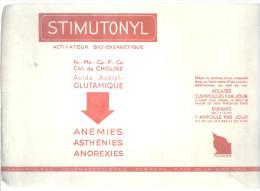 BUVARD  PARIS  STIMUTONYL  Activateur Bio Energetique  Anemies Asthenies Anorexies ..... - Produits Pharmaceutiques