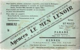 BUVARD  RENNES ST MALO     AGENCE LE MEN LENOIR  Comptoire Immobilier De Bretagne   ..... - Buvards, Protège-cahiers Illustrés
