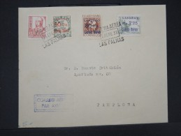 ESPAGNE-Enveloppe De Las Palma   Avec Les Timbres Surchargés De 1937 Pour Pamplone Aff Plaisant    à Voir  P5790 - Emissions Nationalistes