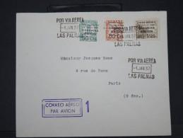 ESPAGNE-Enveloppe De Las Palma   Avec Les Timbres Surchargés De 1937 Pour Paris Avec Censure Aff Plaisant à Voir  P5791 - Marcas De Censura Nacional