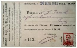 Les Petits Berceaux. Villa Vanducveld, Chaussée De Wavre. Copie (photo) Reçu Cotisation 1913. - Auderghem - Oudergem