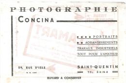 BUVARDSAINT QUENTIN G. LAMART  PHOTOGRAPHE  CONCINA  Portraits Agrandissements Travaux Industriels Tout Pour L'amateur - Buvards, Protège-cahiers Illustrés