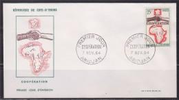 = Cote D'Ivoire Coopération Enveloppe 1er Jour Abidjan 7.11.64 France-Afrique Poignée De Mains - Ivory Coast (1960-...)