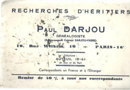 BUVARD  AUTEUIL  PAUL DARJOU  Généalogiste    Recherches D'heritiers - Banque & Assurance