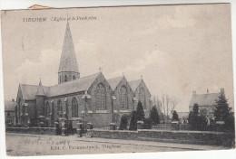 Tieghem, Tiegem, L'Eglise Et Le Presbytère (19171) - Anzegem