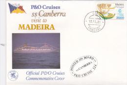Portugal 1981 P&O Cruises Ss Canberra Visit To Madeira Souvenir Cover - Briefe U. Dokumente
