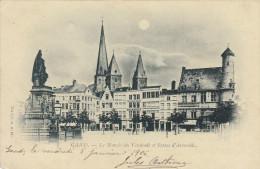 Gent, Gand, Le Marché Du Vendredi Et Statue D'Artevelde (19179) - Gent