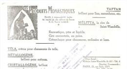BUVARD PARIS ROUEN  LES PRODUITS MONASTIQUES  TAFTAN  MELITTA  TELA  METALLOGENE  CRISTALLOGENE .......... - Chaussures