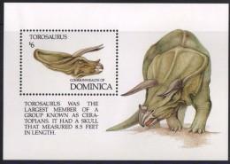 1992, DOMINICA. PREHISTORIC ANIMALS. TOROSAURUS MINIATURE SHEET. MNH. - Dominica (1978-...)