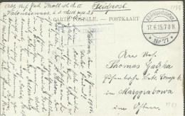 1915 Feldpostkarte Nach Marggrabowa (Olecko - Treuburg)  Feldpoststation 77   Zensuriert - Guerre Mondiale (Première)