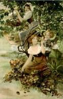 CPA  -   Illustration. 3 Femmes Dans Un Arbre. Pommes. Q 498 - Femmes