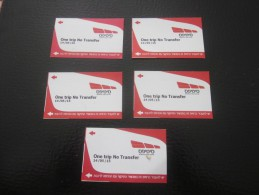 5 TITRE DE TRANSPORT  TICKETS DE TRAMWAY JERUSALEM ISRAEL - Tram