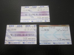 TITRE DE TRANSPORT  TICKETS DE TRAIN LOCOMOTIVE RAIWAY BENYAMIN/TEL-AVIV - Railway