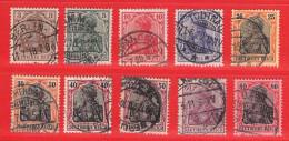 MiNr.84 - 93II. O Deutschland Deutsches Reich - Gebruikt