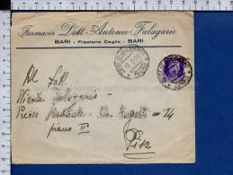 C1285 Regno Storia Postale 1940 BUSTA FARMACIA DOTT. FALAGARIO BARI CEGLIE (tur) - 1900-44 Vittorio Emanuele III