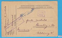 CARTE POSTALE WW1,POW,  GERMAN SOLDIER, RUSSIA TO GERMANY, 1918,  KRIEGSGEFANGENEN, CESORED - Militaria