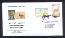 Tunisia/Tunisie 2015  - FDC - Hubara Bustard, Arab Horse - Tunisia