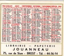 CALENDRIER - 1964 - LIBRAIRIE JOUANNEAU - 75 Rue Du Siam - BREST - Calendriers