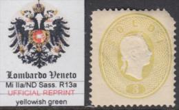 ITALIA - LOMBARDO VENETO - RISTAMPE ORIGINALI (Original Reprints)  Sass. R13a Mi II/ND Fatte Della Zecca Di Vienna NUOVE - Lombardo-Veneto