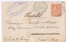 N° 117 Sur Lettre ; CàD Type A2 De Fondettes ( Indre Et Loire ) Du 26-09-1901 - Postmark Collection (Covers)