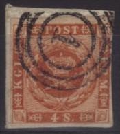 """Danemark N° 8 Oblitéré - Oblitération Cercle 1 """"Copenhague"""" Sur Fragment - 1851-63 (Frederik VII)"""