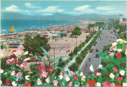 B3697 Riccione (Rimini) - Lungomare E Spiaggia - Beach Plage Strand Playa - Fiori Fleurs Flowers / Viaggiata - Italia