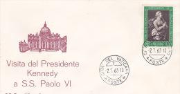 Vatican City 1963 Visit Of President Kennedy Souvenir Cover - Vatican