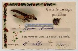 France, 1938, Vœux De Bonne Année, Carte De Passager, Avion, Argent, Fer à Cheval, écrite - Nouvel An