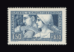 FRANCE N° 252e 1f50 + 8f50 Bleu Le Travail. Signature TURN. Charnière Légère. TTB - France