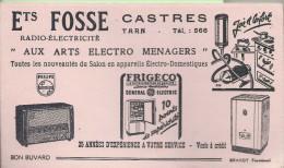 CASTRES  ETS FOSSE BUVARD  RADIO  ELECTRICITE   ELECTRO MENAGERS  FRIGO  BRAND - Electricité & Gaz