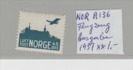 Nor  Mi.Nr. A 136/- NORWEGEN -  Flugzeug Ausgabe 1957  ** - Ungebraucht