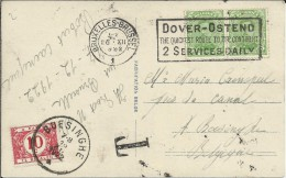 BELGICA BRUXELLES TP MAT DOVER OSTEND OOSTENDE TASADA BOESINGHE 1922 - Bélgica