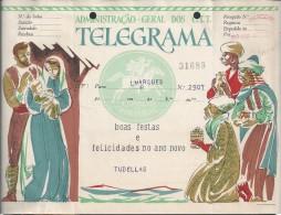 Telegram Happy Holidays,mod.72 BF.Sent Mozambique 1963,via Marconi.Hole File.Stationery.Telegramm Frohe Feiertage.3 Scan - Telegrafi