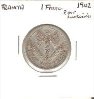 MONEDA DE FRANCIA DE 1 FRANCO DEL AÑO 1942 (COIN) ERROR DE ACUÑACION (RARA) - Francia