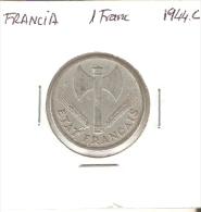 MONEDA DE FRANCIA DE 1 FRANCO DEL AÑO 1944 C PEQUEÑA (COIN) - Francia