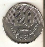 MONEDA DE COSTA RICA DE 20 COLONES DEL AÑO 1985 MAL ACUÑADA (RARA) - Costa Rica