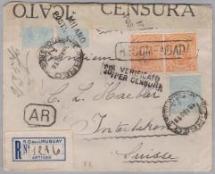 Uruguay 1918-08-26 R-Brief Mit AR Nach Interlaken Italienische Zensur Milano - Uruguay