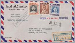 Thailand Siam 1952-11-?? Bangkok A.V.2  R-Flugpost Brief Nach Genf - Thaïlande