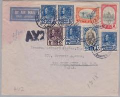 Thailand Siam 1940-10-12 Bangkok A.V.2 Flugpost Brief Nach New-York USA - Thaïlande