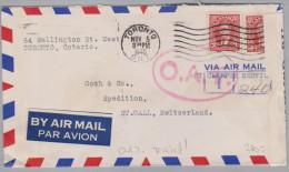 Kanada 1940-11-05 Toronto O.A.T. Flugpost Brief Nach St Gallen Zensur Und Taxiert - Poste Aérienne