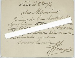 Français François-Louis, Plombières-les-Bains 1814 - Paris 1897 Peintre De L'école De Barbizon, Carte Autographe Signée. - Autografi