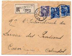 Gandon 5F + 15F X2 Sur Lettre Recommandée En Franchise De Port Simple De 1952 - Postmark Collection (Covers)